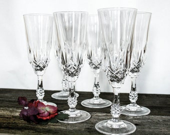 Luxurious, Cut Crystal Long Stem Champagne Flutes, Beautiful Set of 6 Glasses