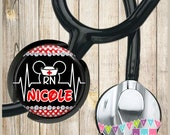 Personalized - Mouse EKG - Red Polka Dots - Nurse Hat - Stethoscope ID Name Tag - Fits STANDARD Size Tubing - Unique Nurse Gift