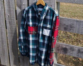 Flannel Boyfriend Shirt in Tartan Plaid, Reconstructed and Upcycled with Vintage Lace Womens Size Large Button Down Prairie Farm Girl Chic