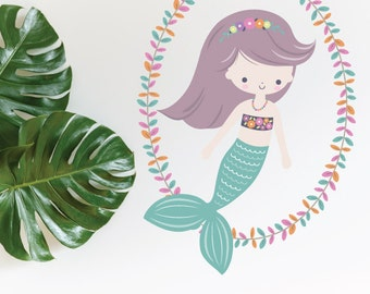 Mermaid Teal With Wreath Removable Wall Sticker | LSB0265CLR-LCN