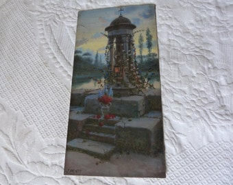 Antique oil painting mysterious garden landscape w chapel, flowers, French 1900s signed oil painting on board European impressionist art