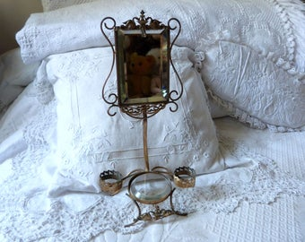 Antique French vanity mirror stand w ormolu swans, beveled mirror, crystal tray, watch holder stand, makeup organizer Rococo boudoir decor