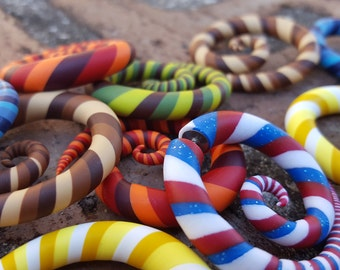 """ONE PAIR of Multi-Color Striped Spiral Gauges or Fake Plugs. You Choose Colors and Size. 2g 0g 00g 7/16"""" 1/2"""" 9/16"""" 5/8"""" 6mm - 16mm Also."""
