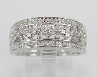 Diamond Cluster Wedding Ring Anniversary Band 14K White Gold Size 7