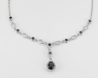 "Sapphire and Diamond Halo Necklace Wedding Drop Pendant 14K White Gold 18"" Chain"