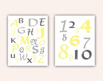 Alphabet and Numbers Print Set - Yellow and Gray ABC's and 123's for Kid's Bedroom - Custom Nursery Art (5004)