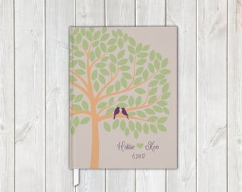 Love Birds in Tree Wedding Guest Book in Peach Sage Green and Purple - Personalized Traditional Guestbook, Journal, Album