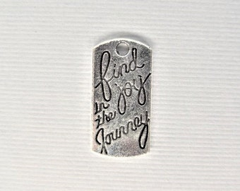 21mm, 10CT. Silver Toned Find Joy in the Journey Word Charms, Y47