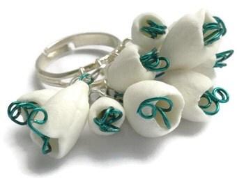 Ceramic Jewellery, Ceramic Snowdrops Ring, Green, Ceramic Jewelry
