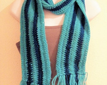 ON SALE Turquoise and Teal Striped Scarf with Fringe