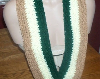 ON SALE Light Brown Yellow and Green Scarf
