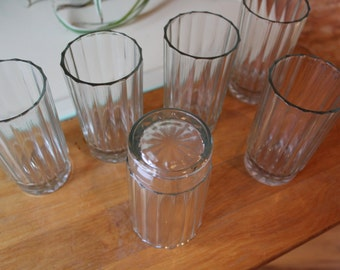 Vntg Ribbed Water Glasses Set of 6