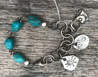 Turquoise Nugget - Raw Silver - Fine Silver Charm bracelet - Artisan Chain Links - Eco Friendly SS Wire - Sundance Style Jewelry