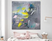 Modern urban art 40x40 city art grey and yellow large abstract Painting Original Canvas art Mid century art fishes by Duealberi