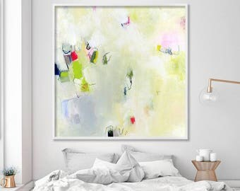 LARGE Giclee Print, abstract painting, modern Painting, Abstract Art, Acrylic Painting, light green, white, red