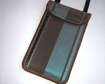 iPhone 6 Case Neck Pocket Smartphone Purse Crossbody Cellphone Cover Small Shoulder Cute Mini Sling Bag iridescent dupioni Brown Teal