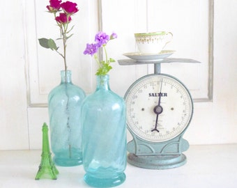 Vintage French Seltzer Bottle in Aqua Blue Glass