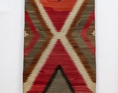 Navajo Eye Dazzler Rug / Double Saddle Blanket, Handwoven, Red Taupe
