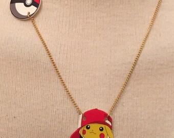 Gold Plated Handmade Pikachu Pokemon Necklace