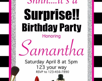 Makeup & Glamorous Invitation for Birthday, Bridal Shower or any Occasion