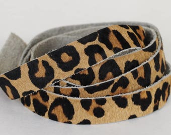 15mm Top Quality Hair on Hide Flat Cord Italian Genuine Leather Light Brown Leopard Print Cowhide