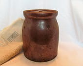 Antique Brown Crock Canning Jar with Lid / Brown Apple Butter Crock with Lid RARE