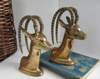 Bookends Solid Brass Gazelle or Antelopes Made in Korea