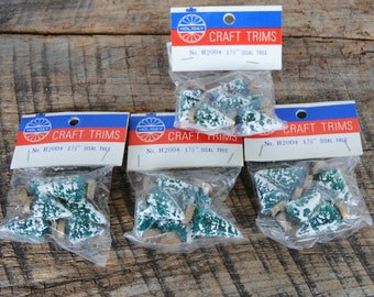 Vintage Sisal Trees Holiday Craft Trims 4 Unopened Packages
