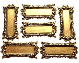 Brass Frame, 4 Piece Lots, Picture Frame, Jewelry Supplies, Jewelry Making, Brass Ox, US Made, B'sue Boutiques, 39 x 86mm, Item02197