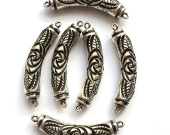 Metalized Bead Connectors, 6 Pieces, Floral Beads, Jewelry Parts, Jewelry Making, Antique Silver, Black Accents, 40mm, B'sue, Item0791