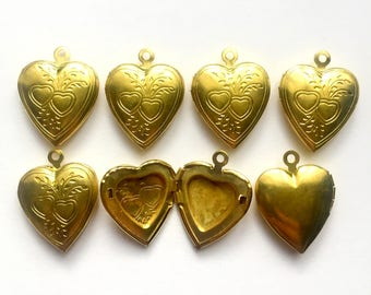 Vintage Heart Lockets, 7 Pieces, Pendant Locket, Jewelry Making, Hinged, Vintage Brass, Victorian Jewelry, B'sue Boutiques,22x17mm,Item02481