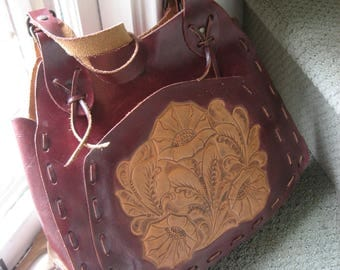 """Wabags Tooled Leather 13.5""""x10"""" Tote"""