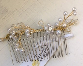 Gold Wire vine comb with Pearl and Rhinestones, diamonds, wedding hair accessory