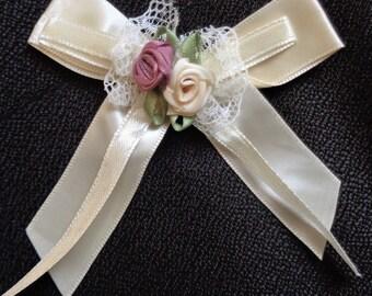 Beige Ribbon Flowers W/rose set of 4