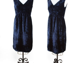 1960s Dress // Crushed Blue Velvet Sleeveless Mini Dress
