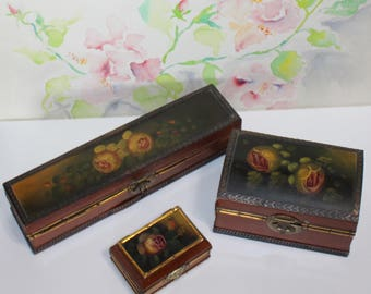 Sweet Trio of Wooden, Floral, Jewelry Boxes