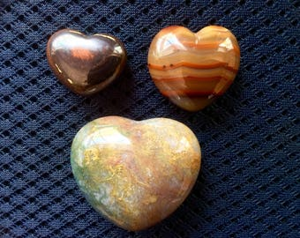 3 Heart shaped Jasper Agate Ironstone Polished Stone Rock 3H