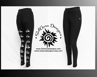 DESIRED - Junior/Women Super Cute Non-See Through Leggings Cut and Weaved Black Leggings, Festival Wear, Yoga Wear, Anytime Wear
