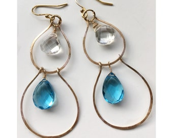 Gold chandelier hoop earrings/ Sky Blue Hydro Quartz and Crystal Quartz Dangle Earring/ Gold Boho Gemstone Earrings