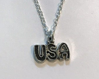 Tibetan Silver USA charm - Charm Necklace - Independence Day - 4th Of July - 925 Sterling Silver or Silver Tone Chain -Proud to be American