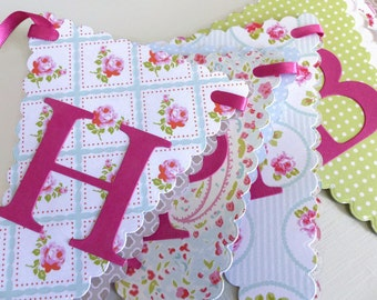 Happy Birthday Bunting - Girls Tea Party Banner - Pink, Mint, Green, Blue, Floral, Polka Dots