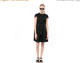 Black Loose Fit day-to-night dress, Breezy Swingy Cotton Dress, Short Sleeve Summer Dress