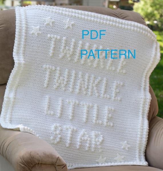 Twinkle Twinkle Little Star Crochet Baby Blanket Pattern - Baby Blanket Pattern - Blanket Pattern