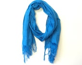 Bright indigo blue solid hand-woven cotton scarf from Ethiopia