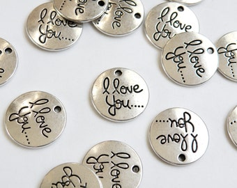10 I Love You charms in cursive flat round pendants antique silver 20mm PN008-12AS