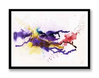 Purple, Blue and yellow abstract // Original one of a kind art work // Abstract Ink Painting // Wall Art // Office Art // Corporate Art