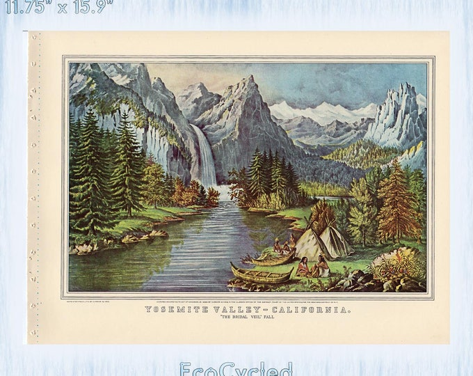 Americana Currier & Ives Vintage Lithograph Print Yosemite Valley California Train Through to Pacific Home Paper Ephemera Book Page  zyx5-6