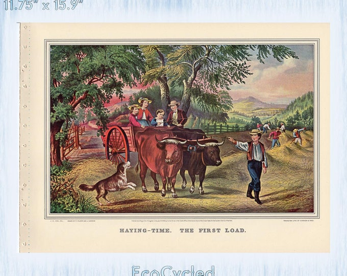 Farm Americana Currier & Ives Vintage Lithograph Print Haying Time First and Last Load Paper Ephemera Book Page  zyx9-10