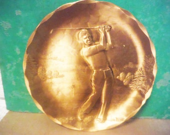 Vintage golfer change dish golf golfing wenell august solid bronze mans dresser plate catch all