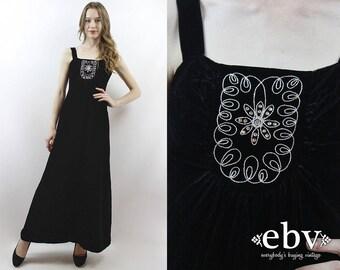 Black Velvet Dress Velvet Maxi Dress 1970s Dress 70s Dress Goth Dress Party Dress Black Velvet Dress Rhinestone Dress Evening Dress XS
